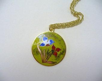 Vintage Floral Enamel Necklace DEADSTOCK
