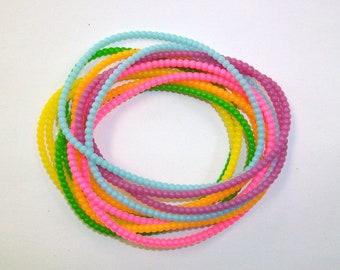 Vintage Set of 12 Beaded Rubber Bright Pastel Jelly Bracelets DEADSTOCK