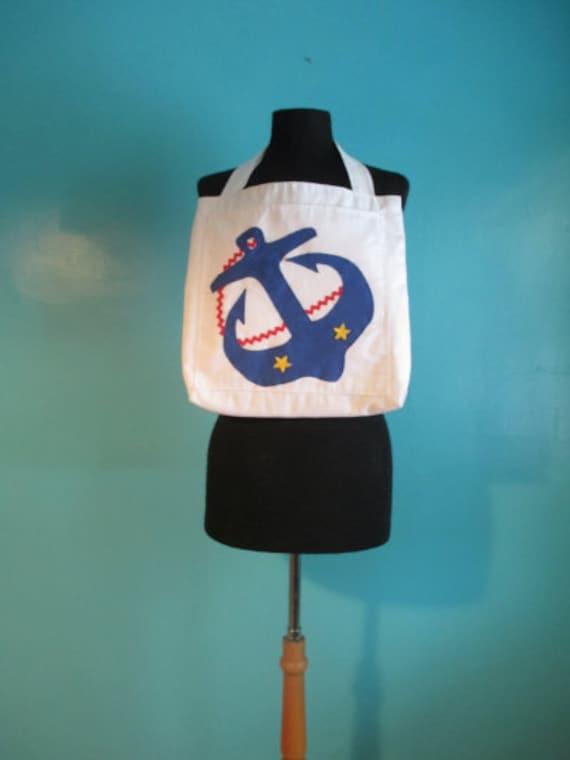 Vintage Nautical Anchor Tote Bag