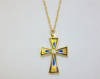 Vintage Gold-Tone Cloisonne Cross Necklace DEADSTOCK