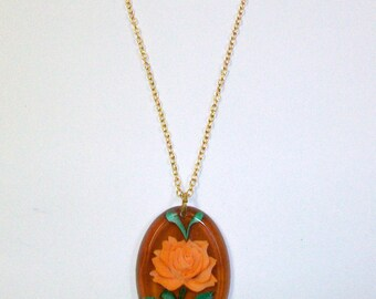 Vintage Tortoise Flower Necklace DEADSTOCK