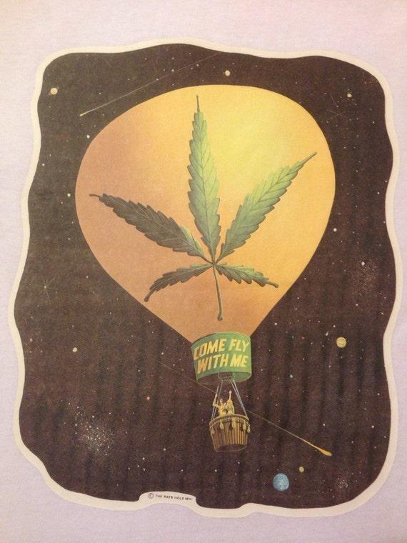 Original vintage 1974 venez voler nouveau avec moi la marijuana pot feuille transfert sur nouveau voler T-shirt sans les herbes ae0aad
