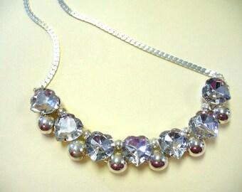 Vintage 80s Rhinestone Heart Necklace DEADSTOCK