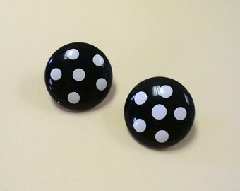 Vintage Black and White Mod Polka Dot Earrings DEADSTOCK
