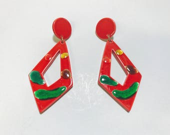 Vintage 1980s oversized red statement earrings