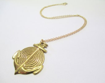 Vintage 90's Gold-tone Anchor Necklace DEADSTOCK
