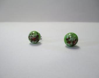 Vintage 70's Italian Glass Dot Post Earrings DEADSTOCK