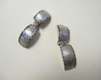 Vintage 60's Silver-Tone Metal Clip On Earrings DEADSTOCK