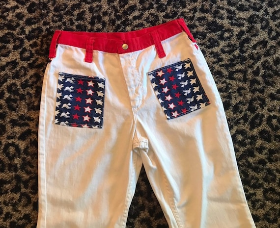 Red white and blue vintage 1960s maverick jeans