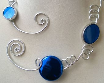 Contemporary necklace, Open collar necklace, wire necklace, wire jewelry,  LesBijouxLibellule,  Royal blue necklace, Royal blue jewelry