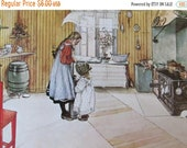 SALE- Carl Larssen, Churning Butter in the Kitchen, 1968 Reproduction of His Watercolor, Unframed Print, Vintage Book Page