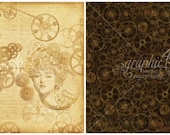Graphic 45, Steampunk Debutante, Mechanical Mind, 12 x 12 Single Sheet, Vintage Retired