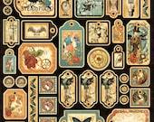 Graphic 45, Steampunk Debutante, Die-cut, Cardstock, Tags, 12 x 12 Single Sheet, Vintage Retired, Original Release
