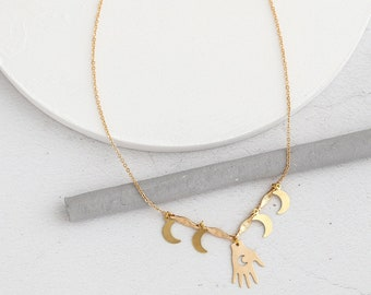 TAROT Hand and Moon Necklace