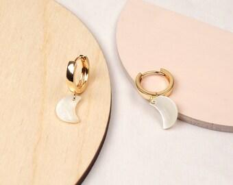 LUNE Mother of pearl moon huggie hoop earrings