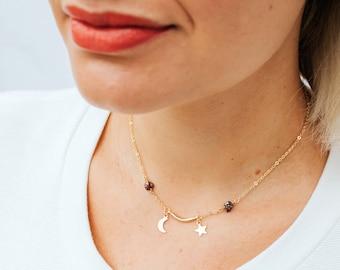 ARTEMIS Moon and Star Necklace - Gold Plated with Titanium Quartz Gemstones