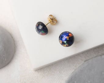 DELTA Black and Blue Foil Glass Studs
