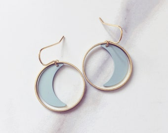 MAHINA mint moon hoop earrings