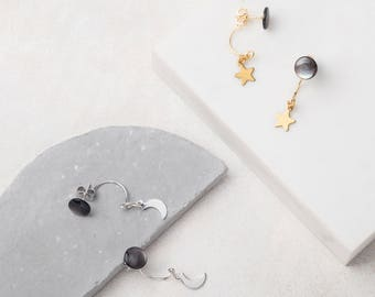 DARK MOON Swing Stud Earrings with Stars or Crecent Moons