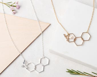 HONEY BEE Honeycomb Hexagon Necklace in Gold or Silver Plated