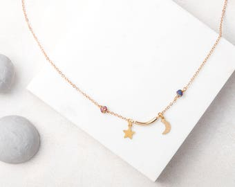 ARTEMIS Moon, Star and Titanium Quartz Short Necklace
