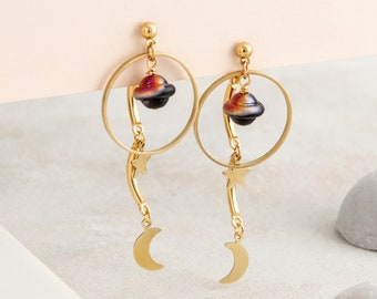ORBIT Space Earrings with Planet, Star and Moon - Front and Back Studs