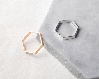 HEX Midi Ring in Gold or Silver Plated