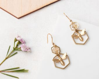 HONEY BEE Hexagon and Citrine Earrings