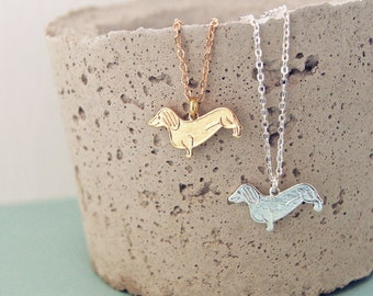 SUSIE THE DACHSHUND Necklace in Gold or Silver