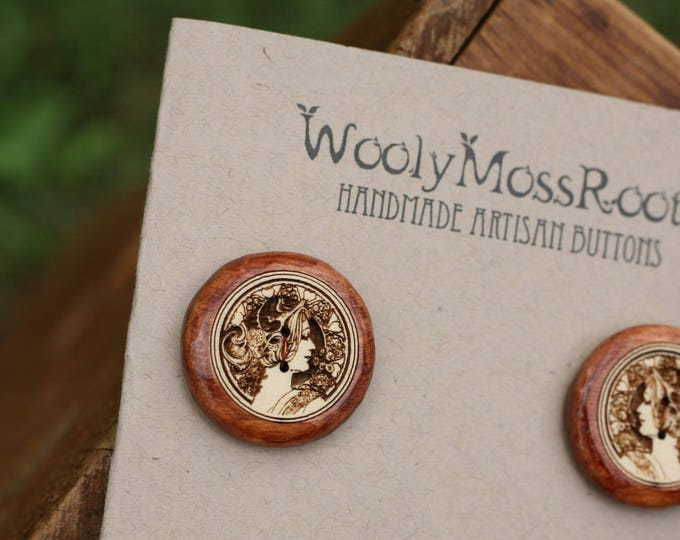 SALE! 4 Cameo Lady Buttons in Yellow Cedar Wood