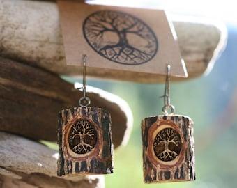 Trees in Sassafras- Earrings- - Natural Wood Jewelry- Eco Earrings