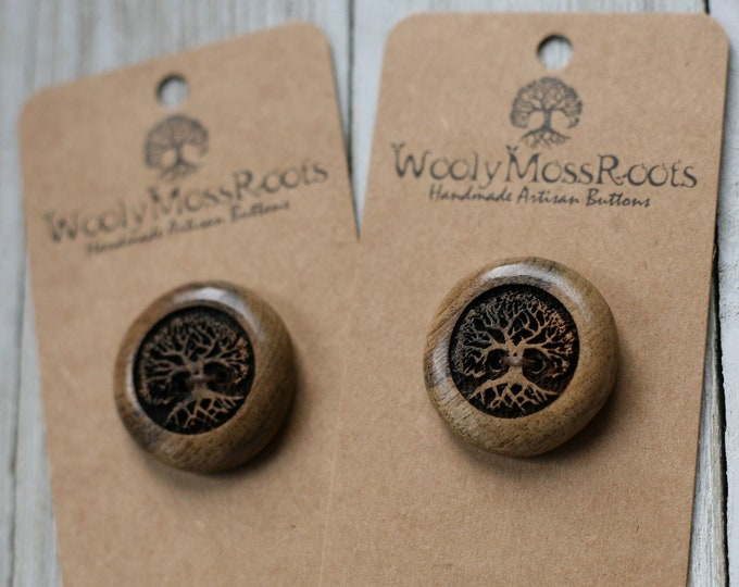 """2 Tree Buttons in Oregon Myrtlewood {1""""}"""