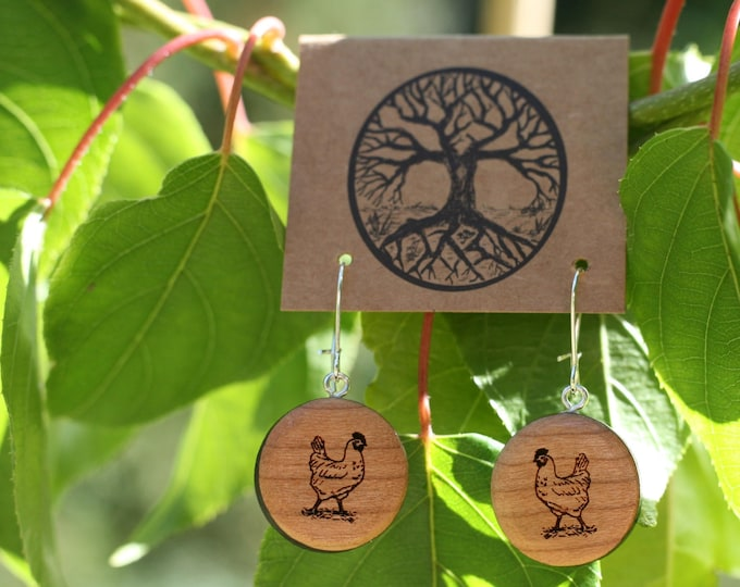 Chicken Love Earrings in Cherry Wood