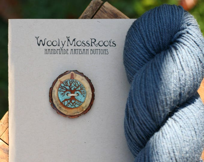 Turquoise Inlay Tree Button in Diamond Willow