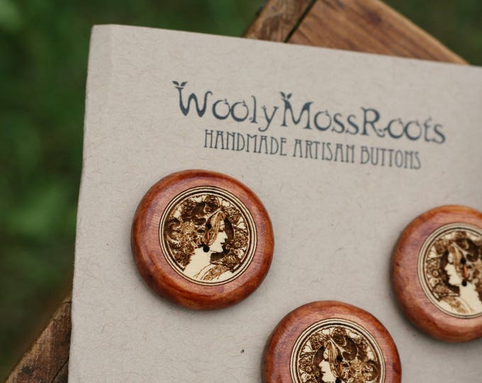 SALE! 5 Cameo Lady Buttons in Yellow Cedar Wood
