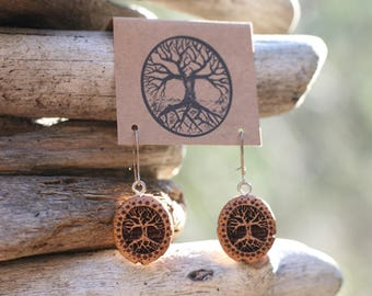 Juniper Wood Tree Earrings- Wooden Earrings- - Natural Wood Jewelry- Eco Earrings