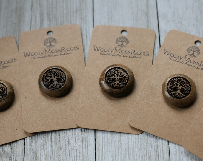 """5 Tree Buttons in Oregon Myrtlewood {1""""}"""