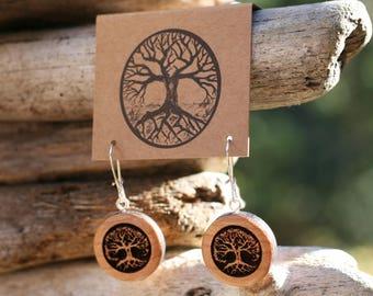 Cherry Wood Tree Earrings- Wooden Earrings- - Natural Wood Jewelry- Eco Earrings