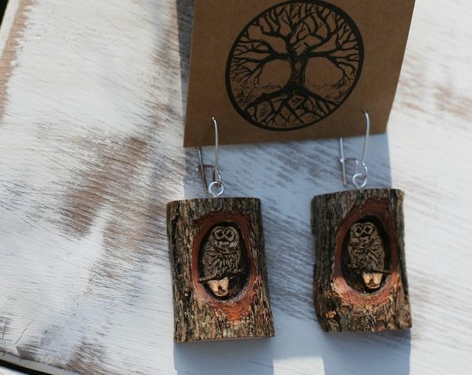 Owl Earrings in Sassafras Wood