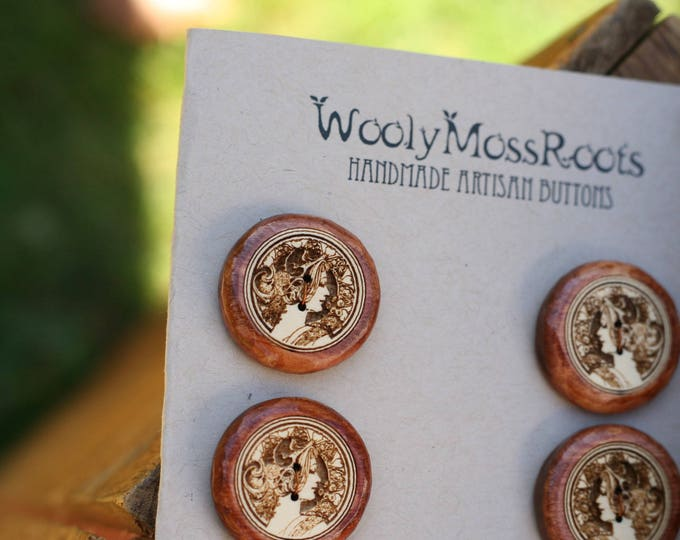 SALE! 6 Cameo Lady Buttons in Yellow Cedar Wood