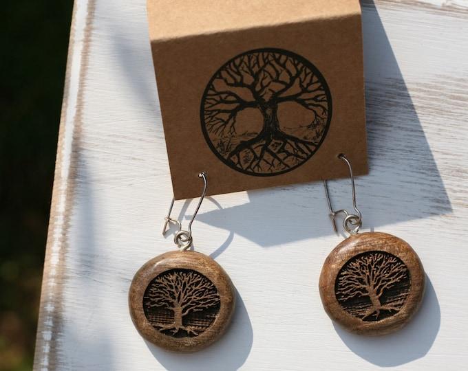 Tree Earrings in Oregon Myrtlewood