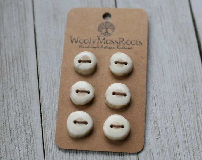 """6 Tiny Buttons in Shed Deer Antler {1/2""""}"""