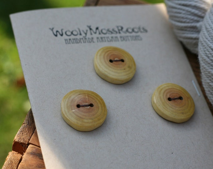 3 Rustic Wood Buttons in Oregon Cascara