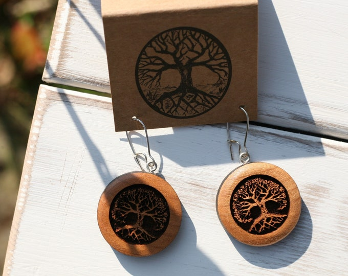 Cherry Wood Tree Earrings