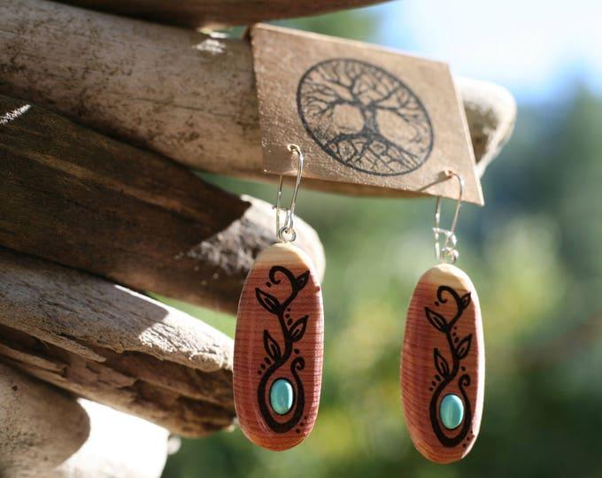 Turquoise & Red Cedar Earrings