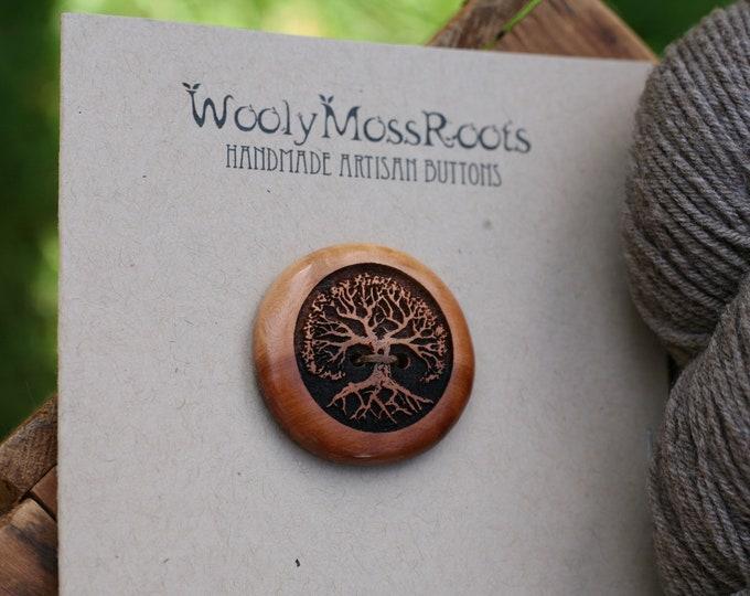 Tree Button in Mountain Mahogany Wood