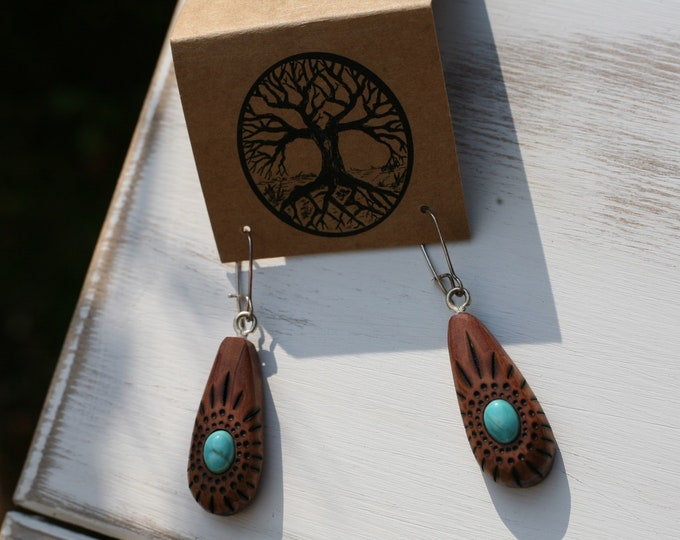 Red Cedar & Turquoise Earrings