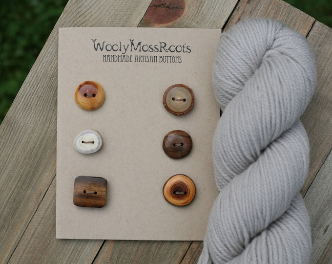 "6 Mixed Wood & Antler Buttons {3/4"" - 7/8""}"
