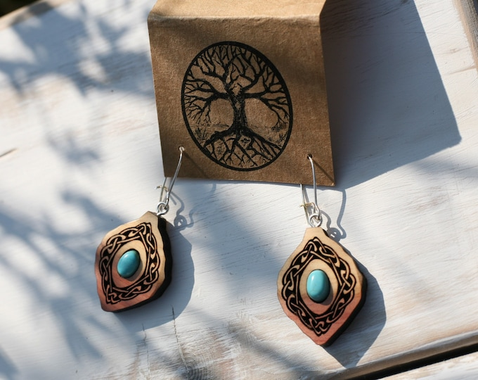 Turquoise & Red Cedar Celtic Knot Earrings