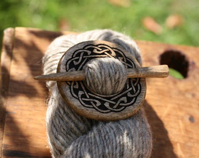 Celtic Knot Shawl Pin in Oregon Myrtlewood